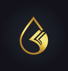 Droplet data paper gold logo vector