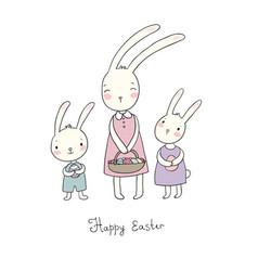 Easter bunnies cute cartoon hares with eggs vector