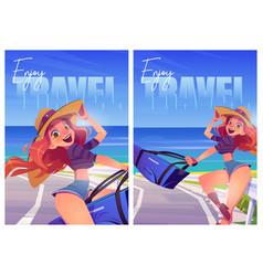 enjoy summer travel cartoon posters ocean journey vector image