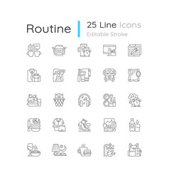 Everyday routine linear icons set vector
