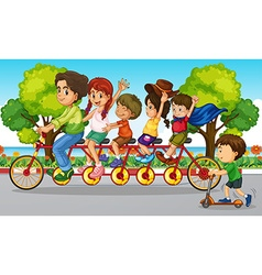 Family riding bike in the park vector