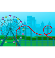 ferris wheel with colored cabins and a roller vector image