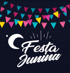 festa junina colorful flag moon black background v vector image