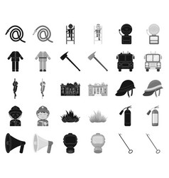 Fire department blackmonochrome icons in set vector