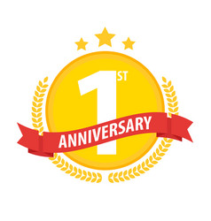 first anniversary circle badge with ribbon and vector image