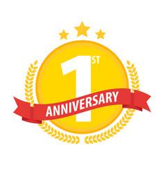 First anniversary circle badge with ribbon vector