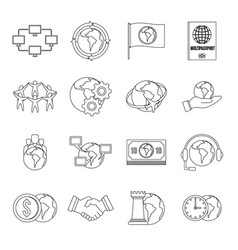 global connections icons set outline style vector image