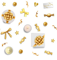 Gold holidays and luxury objects seamless pattern vector
