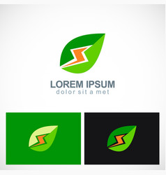 green leaf energy power logo vector image