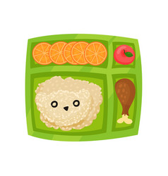 green lunch box with rice chicken leg slices of vector image