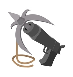 Gun with grappling hook cartoon vector image