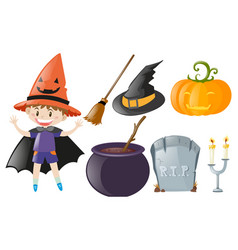 halloween theme with boy and witch costume vector image