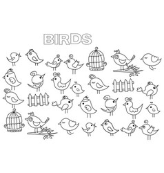 Hand drawn birds set coloring book page template vector