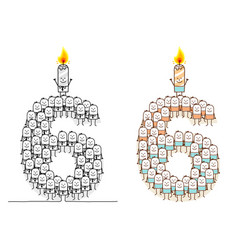 Hand drawn cartoon characters - birthday candle 6 vector