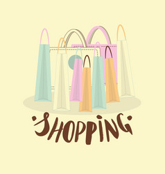 hand lettering of word shopping vector image