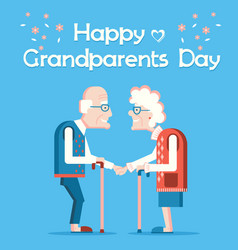 Happy grandparents day with old people holiday vector