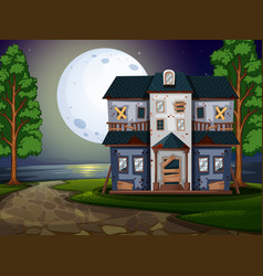 Haunted house by the lake at night vector