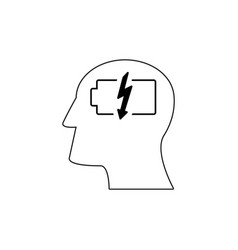Head with battery work icons come up idea vector