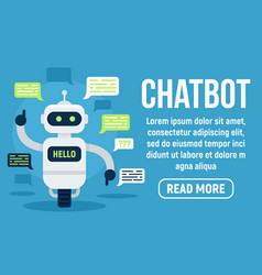 hello chatbot concept banner flat style vector image
