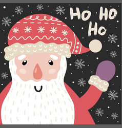 ho christmas card with cute santa claus vector image