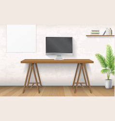 interior with wooden desk and computer vector image