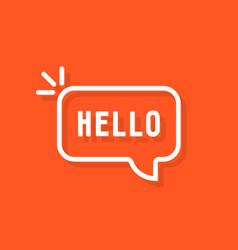 Linear hello word in speech bubble vector