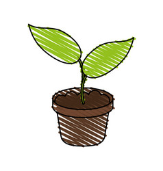Little plant seeding ecological icon vector