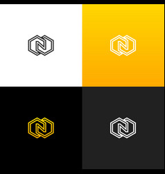 logo n with rhombus linear logo of the letter n vector image