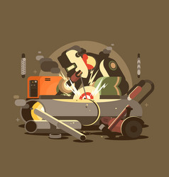 Man welder in mask vector