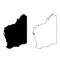 Map western australia black and outline maps vector