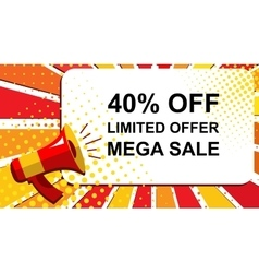 Megaphone with limited offer mega sale 40 percent vector
