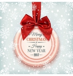 merry christmas and happy new year 2017 badge vector image
