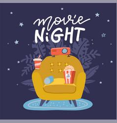 Movie night banner design trendy concept design vector