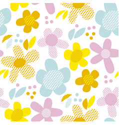 naive pastel color simple flowers seamless pattern vector image