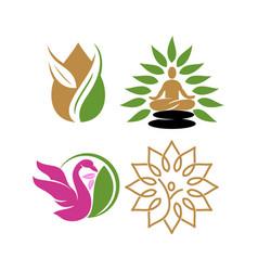 Nature spa logo swan yoga leaf design icon vector