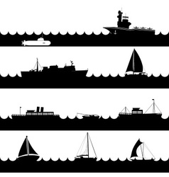 Ocean and navy ships variations of scene on sea vector
