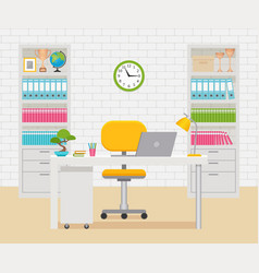 office room interior workplace workspace vector image