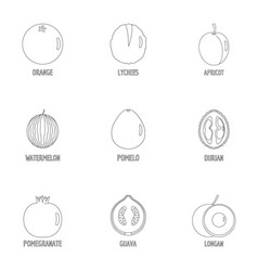 Orchard icons set outline style vector