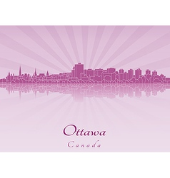 Ottawa skyline in purple radiant orchid vector image