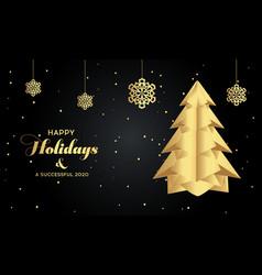 paper art christmas tree merry christmas vector image