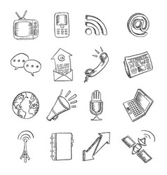 pencil drawn global communications icon set vector image