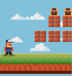 pixelated and videogame design icon vector image