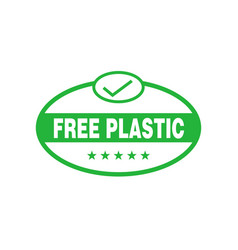 Plastic free green oval sticker eco friendly vector