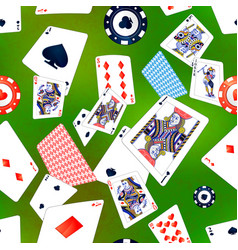 Poker cards and casino chips on green background vector