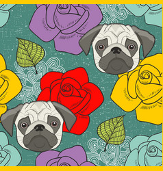 pugs and flowers seamless wallpaper vector image