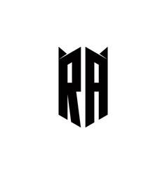 Ra logo monogram with shield shape designs vector