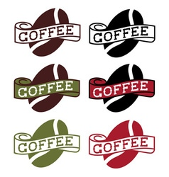 Retro labels with coffee bean vector