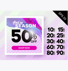 romantic spring sale poster with polka dot vector image