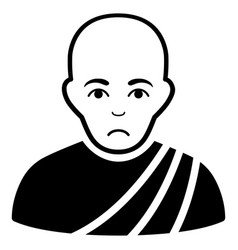 sad buddhist monk black icon vector image vector image