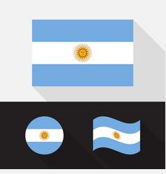 set argentina flag flat design vector image